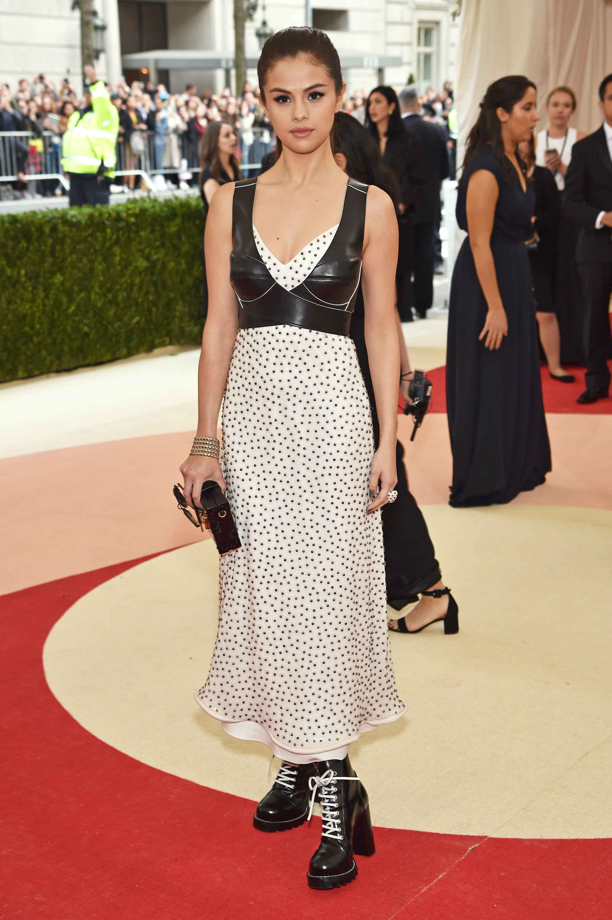 Selena Gomez in Louis Vuitton, something like peasant meets grunge.