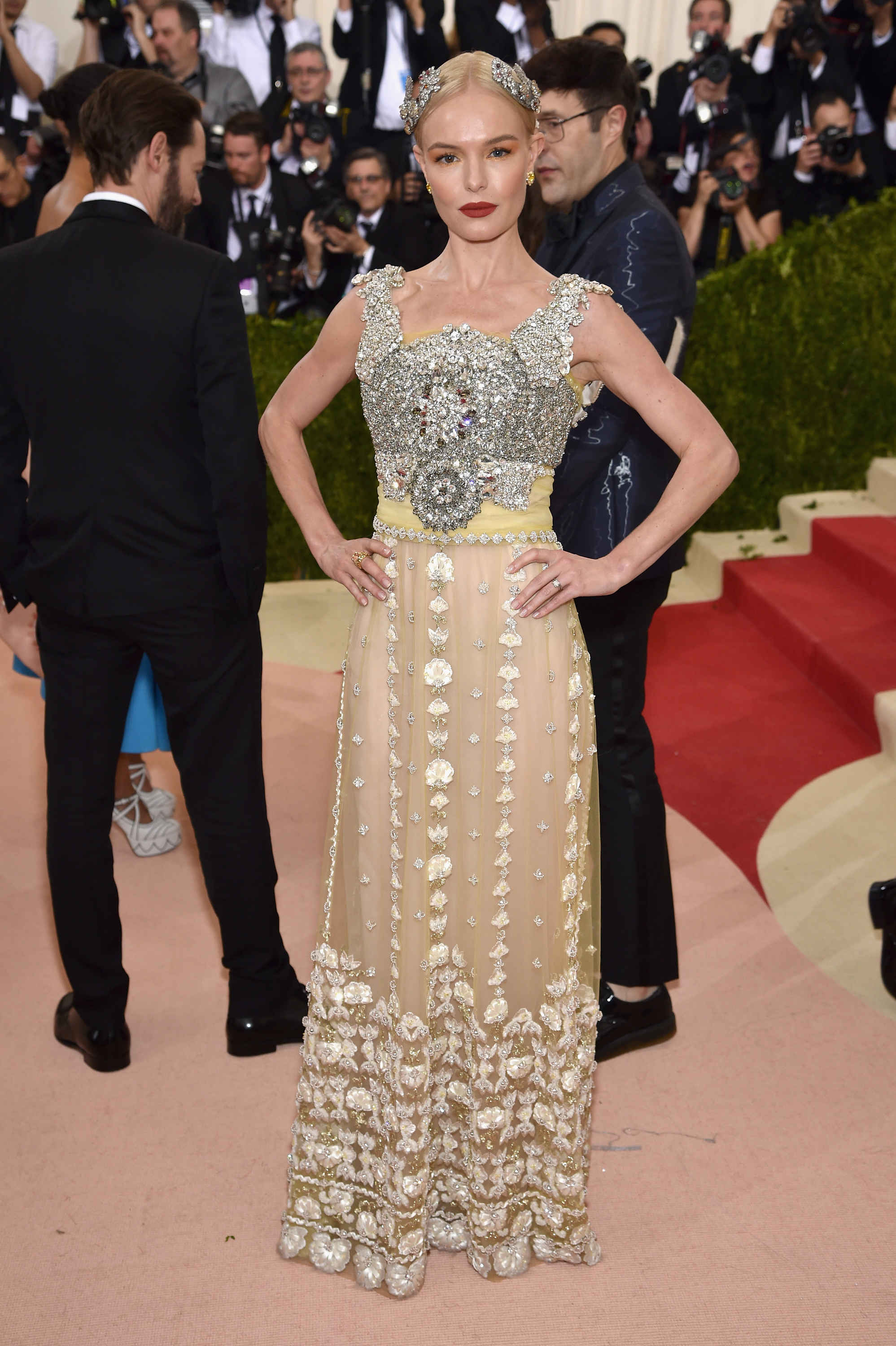 Kate Bosworth in Dolce & Gabbana, because it looks like a custom.