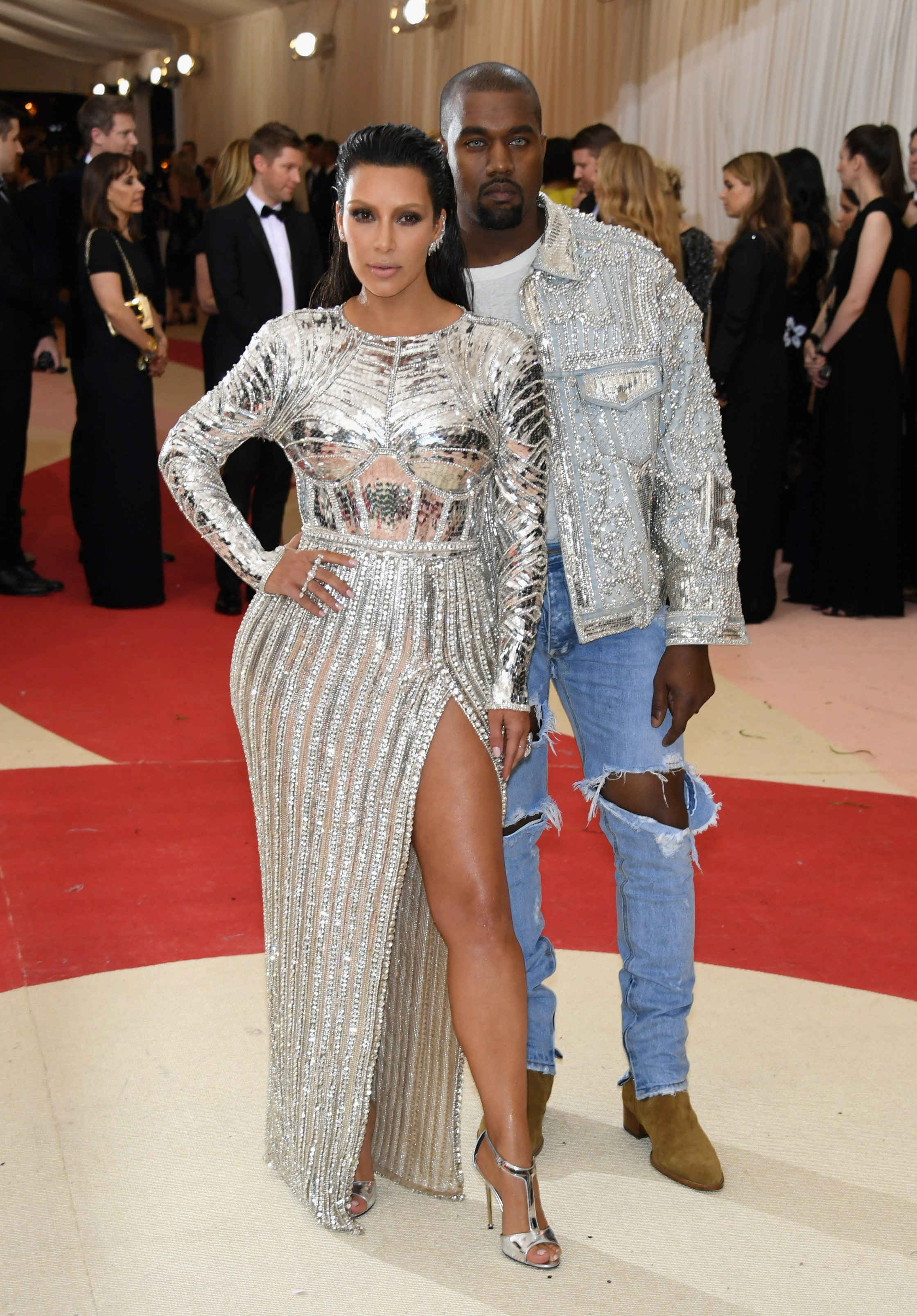 Kim and Kanye in Balmain